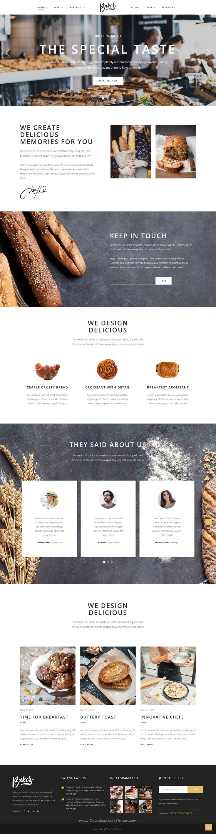 Baker is an awesome responsive #WordPress theme for #bakeries, cake #shops and pastry stores website with 12 stunning homepage layouts download now➩ https://themeforest.net/item/baker-a-fresh-theme-for-bakeries-cake-shops-and-pastry-stores/19619774?ref=Datasata