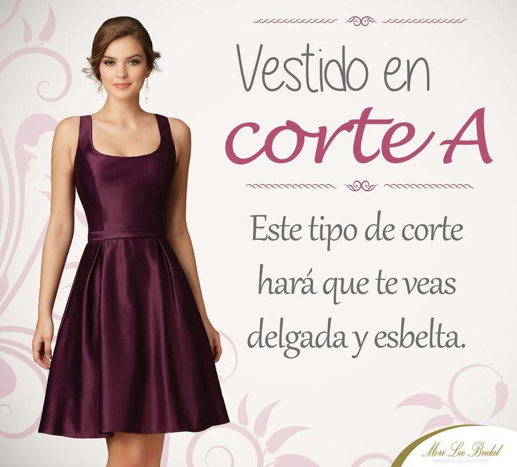 Si tu cuerpo tiene forma de rectángulo, la mejor opción son los vestidos de corte A. Encuentralos en http://morilee-bridal.com/