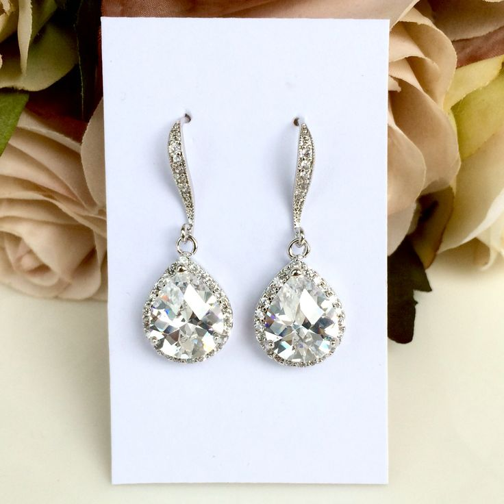 Teardrop cubic zirconia bridal earrings by Colour and Sparkle, wedding jewellery, bridal jewellery, bridal accessories