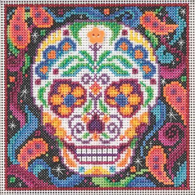 Stitched Area of Sugar Skull Beaded Kit Mill Hill 2015 Buttons & Beads Autumn - $11.98