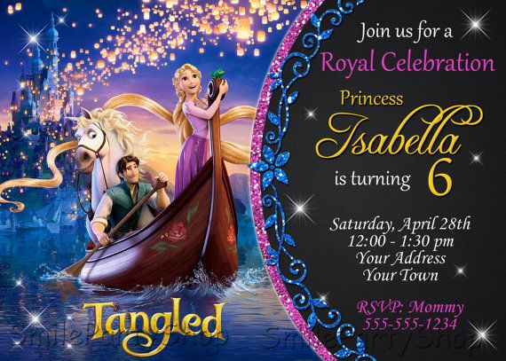 Rapunzel invitation Tangled Invitation PERSONALIZED by SmileParty