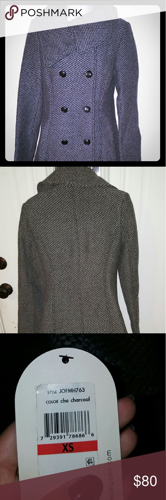 Nwt jessica simpson coat Style jofmh763 in cha charcoal. Size xs, but it runs big so it can fit a size small if they want it a little more form fitting. Jessica Simpson Jackets & Coats Pea Coats