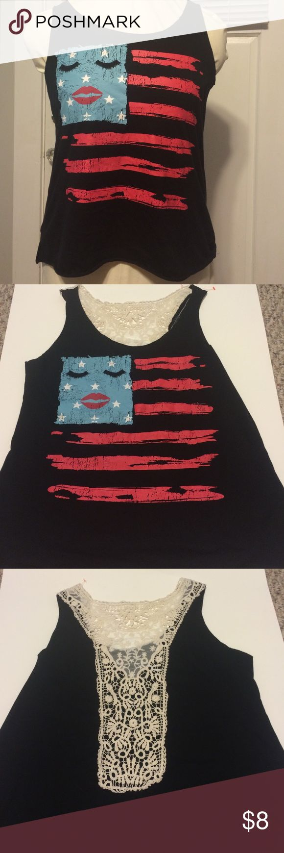 👄ladies flag top👄 Fun tank top. In really good condition. Says large but snug. I have it listed as a medium. Love always Tops Tank Tops