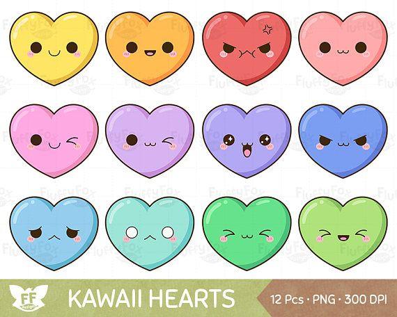 Kawaii Heart Clipart Cute Hearts Clip Art Valentine Love Etsy In 2021 Heart Clip Art Cute Heart Drawings Clip Art