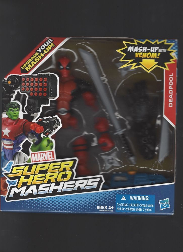 Marvel Superhero Mashers Deadpool W/ Venom Arm MIB Scarce  #Hasbro