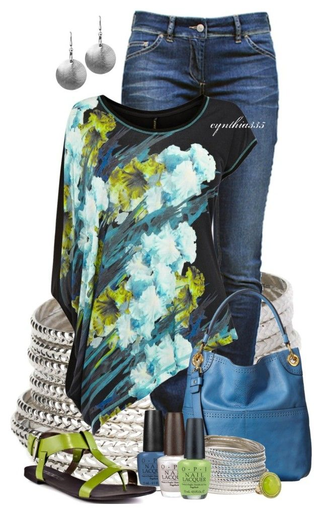 """""""Asymmetric Florals"""" by cynthia335 ❤ liked on Polyvore featuring BaubleBar, Étoile Isabel Marant, Karen Millen, Orla Kiely, Blue Nile, OPI, Sabine and Moda Spana"""
