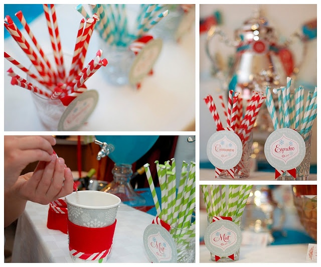 """Mixie Sticks""- use paper straws and fill with cinnamon, etc. to flavor hot choc.Tradewind Tiaras, Fabulous Ideas, Creative Ideas, Gingerbread Parties, Flavored Hot, Creamer Flavored, Paper Straws, Pixie Sticks, Sweets Parties"