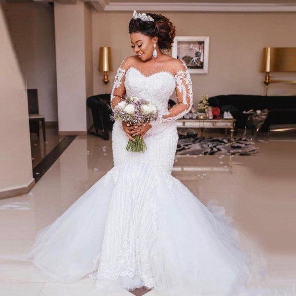 2020 New Luxury Mermaid Wedding Dresses Sheer Neck Illusion Lace Appliques Beads Long Sle Sheer Wedding Dress Fit And Flare Wedding Dress Black Wedding Dresses,Bridesmaid Dresses Beach Wedding