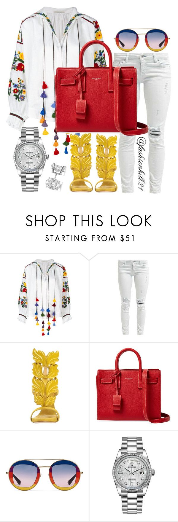"""Untitled #1426"" by fashionkill21 ❤ liked on Polyvore featuring Vita Kin, Giuseppe Zanotti, Yves Saint Laurent, Gucci, Rolex and Allurez"