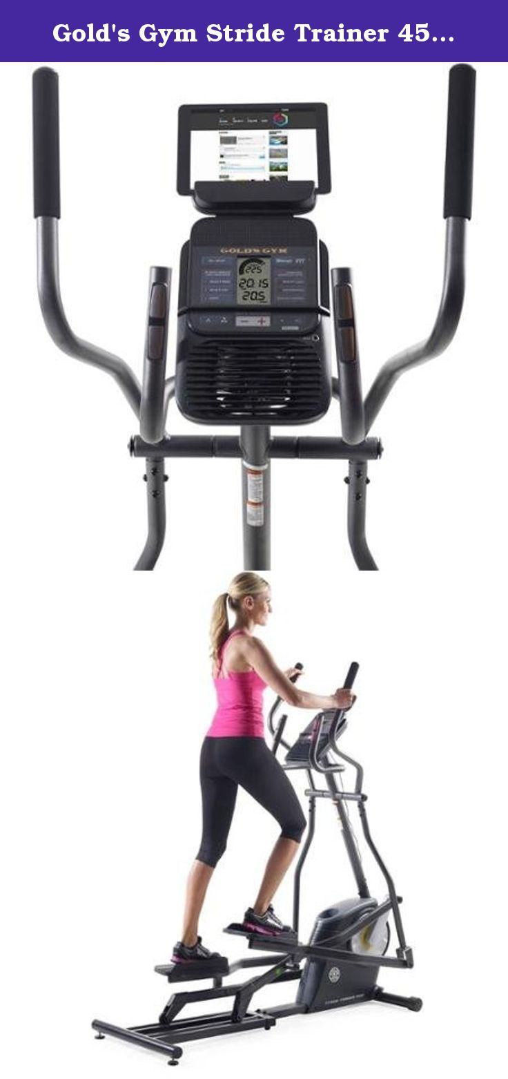 Gold's Gym Stride Trainer 450i Elliptical Machine, with iFit Bluetooth Smart Technology. The Gold's Gym Stride Trainer 450i Elliptical is a terrific way to get the exercise you want in the convenience of your own home. Enabled with iFit Bluetooth Smart technology, this machine grants you access to workouts designed by certified personal trainers, automatic stats tracking and more. It also features a large LCD window, convenient transport wheels and a 17-inch stride length. The console...