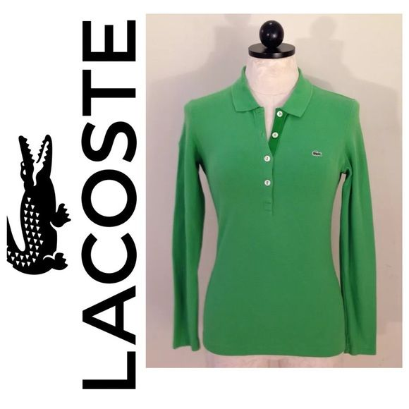 I just discovered this while shopping on Poshmark: Women's Lacoste 6 green long sleeve polo shirt 38. Check it out!  Size: 6