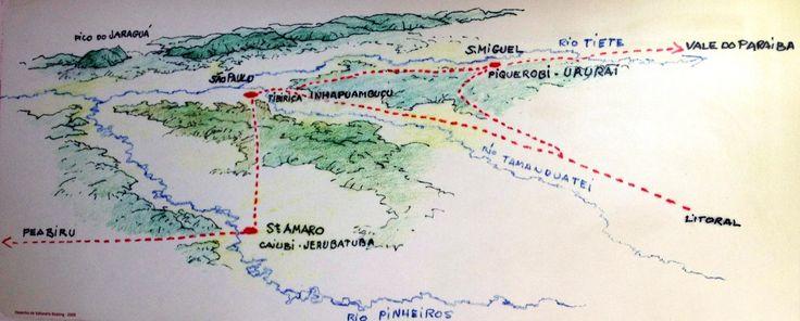 Povoamento indígena na cidade de São Paulo. Os Tupiniquim possuíam 3 povoamentos na área: Inhapuambuçu (possivelmente conhecido por Piratininga), Jerubatuba e  Ururaí. Tibiriçá chefiava a aldeia de Inhapuambuçu, onde seria edificado o colégio jesuítico. Em Santo Amaro ficava Jerubatuba, chefiada por Caiubi, suposto irmão de Tibiriçá. Em São Miguel ficava Ururaí, chefiada por Piquerobi, irmão de Tibiriçá / desenho de Vallandro Keating no Sitio Morrinhos (CENTRO DE ARQUEOLOGIA DE SÃO PAULO).
