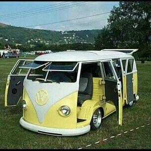 Yellow VW Bus suicide doors split window