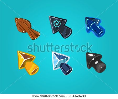Cartoon vector arrows, cursors, different materials and shapes. Elements for game user interfaces.