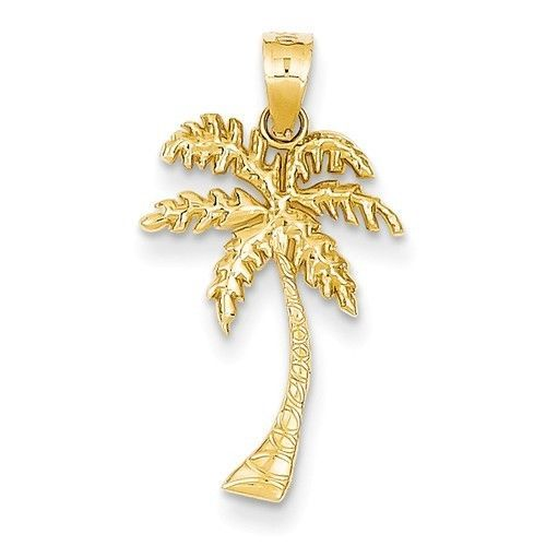 14k Yellow Gold Mini Palm Tree Pendant. (1INx0.5IN)