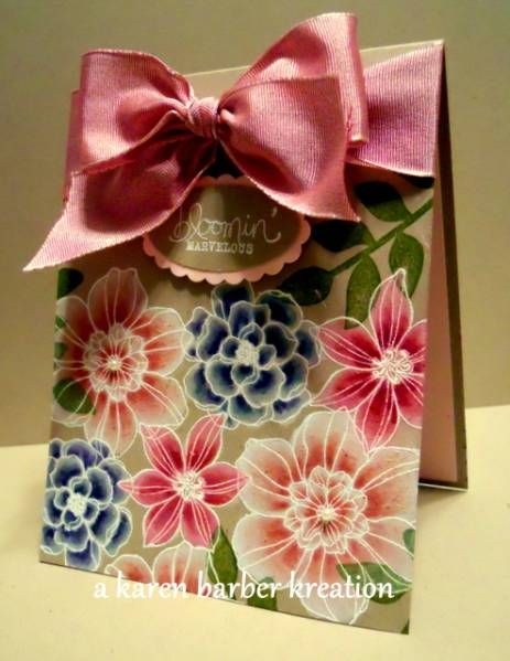 gorgeous handmade card: POSIES GALORE by Karen B Barber ...  #kraft ... flower outlines embossed in white ... white kraft ink brushed on ... colors brushed on ... stunning!!!