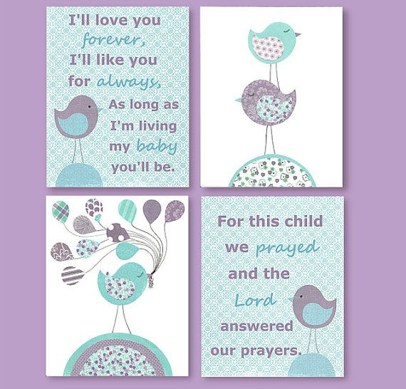 Aqua and Purple Nursery, Matches Colors of Pottery Barn Brooklyn, I'll Love You Forever, For This Child We Prayed, Bird Nursery