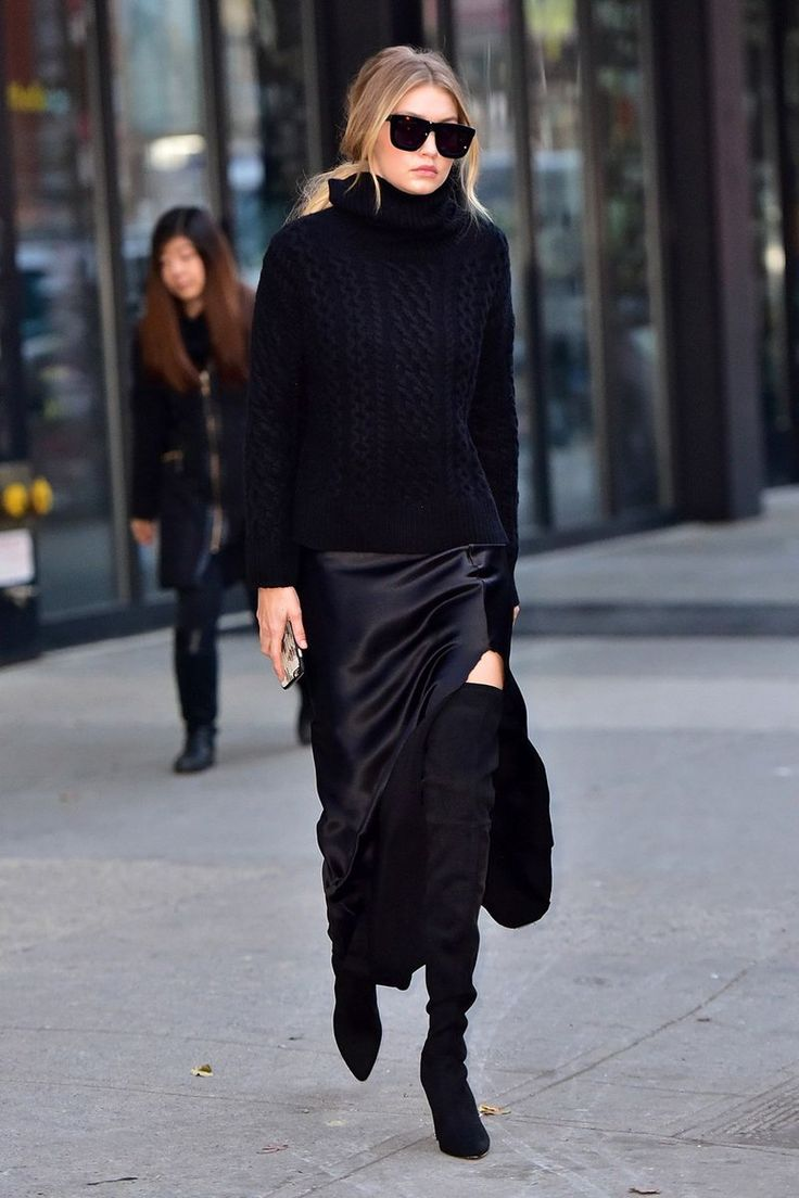 The new york vanity was named perfectly it has that city chic look - December 2015 While Out In New York Hadid Embraced The All Black Look In A Nili Lotan Cashmere Aran Turtleneck With A Silk Evening Skirt With A Slit