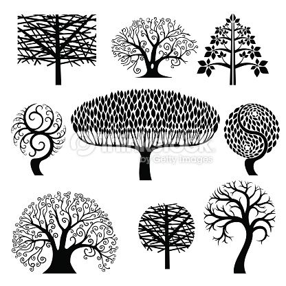 Clipart vectoriel : Set silhouettes of trees.