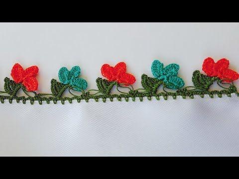 Yaprak Dibinde Çiçek Tığ oyası  Yapımı - YouTube