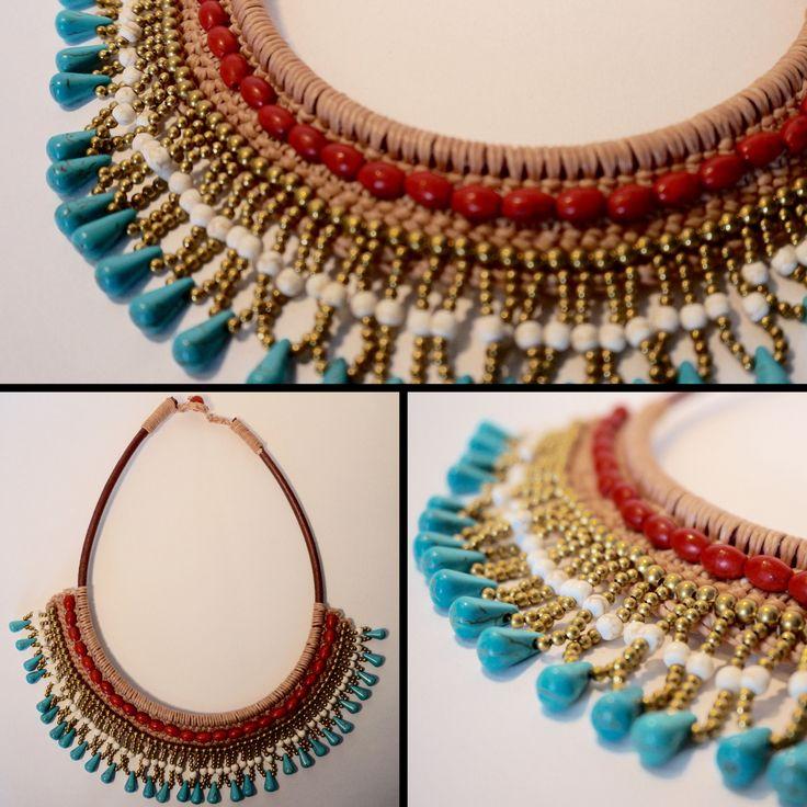 Collier plastron ethnique en coton ciré beige, perles dorées et pierres bleues et rouges <3 https://www.etsy.com/listing/230702351/collier-tisse-main-coton-cire-et-pierres?ref=shop_home_active_19