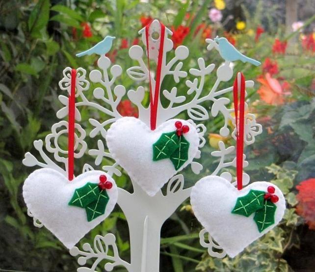 Christmas Tree Holly Heart Decoration