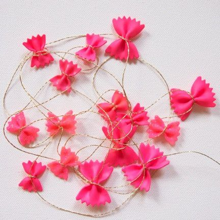 pasta miracle garland.  pink and gold.