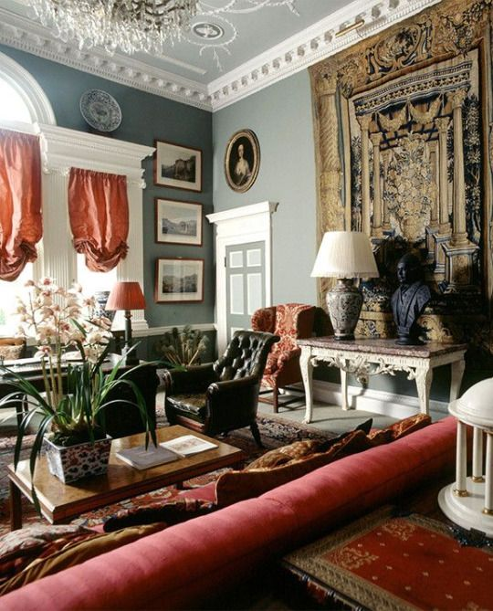 Edmond Safra's office from Hodsoll's 1985 Berkeley Square bank project, silk Fortuny curtains and a 16th-century Flemish tapestry