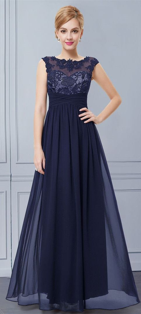 Embroidered Illusion Neckline Evening Dress Partywedding Dresses