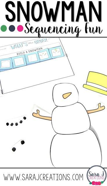 Free snowman building activity to practice sequencing steps