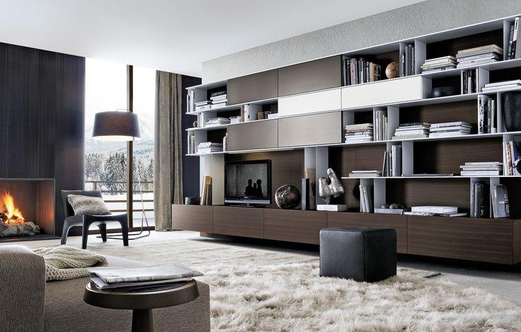 FireplaceStoolChairRugWall unit Rustic Modern Living