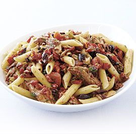 Penne Rigate with Olives, Roasted Peppers, and Tuna recipe