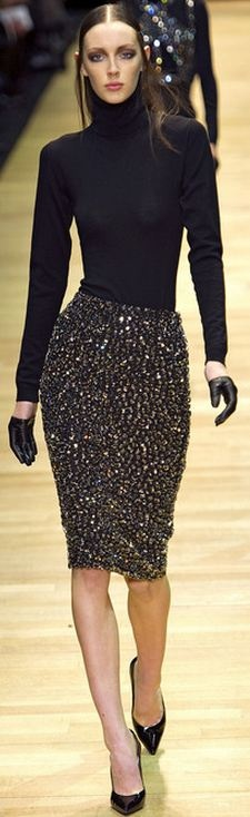 Guy Laroche F/W 2013 RTW Paris FW  style.com (Needs something @ neckline: ? Super-long/big earrings, or scarf, or edgier top?)