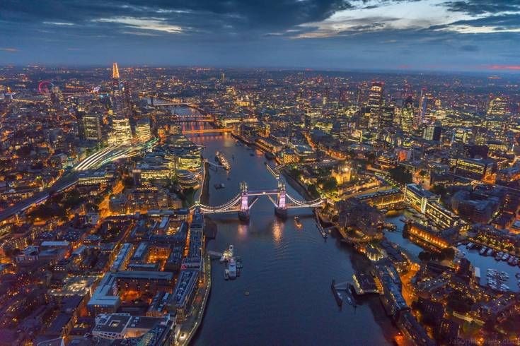 A View Of London With The River Thames At Night City Cities Buildings Photography