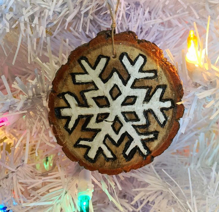 Wood burnt & hand painted snowflake on natural wood slice christmas holiday tree ornament by EarthDiverCreations on Etsy https://www.etsy.com/ca/listing/475130740/wood-burnt-hand-painted-snowflake-on