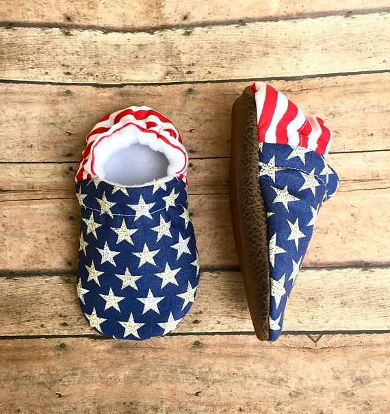 Patriotic Red White & Blue Baby Toddler Moccasin Crib Shoes