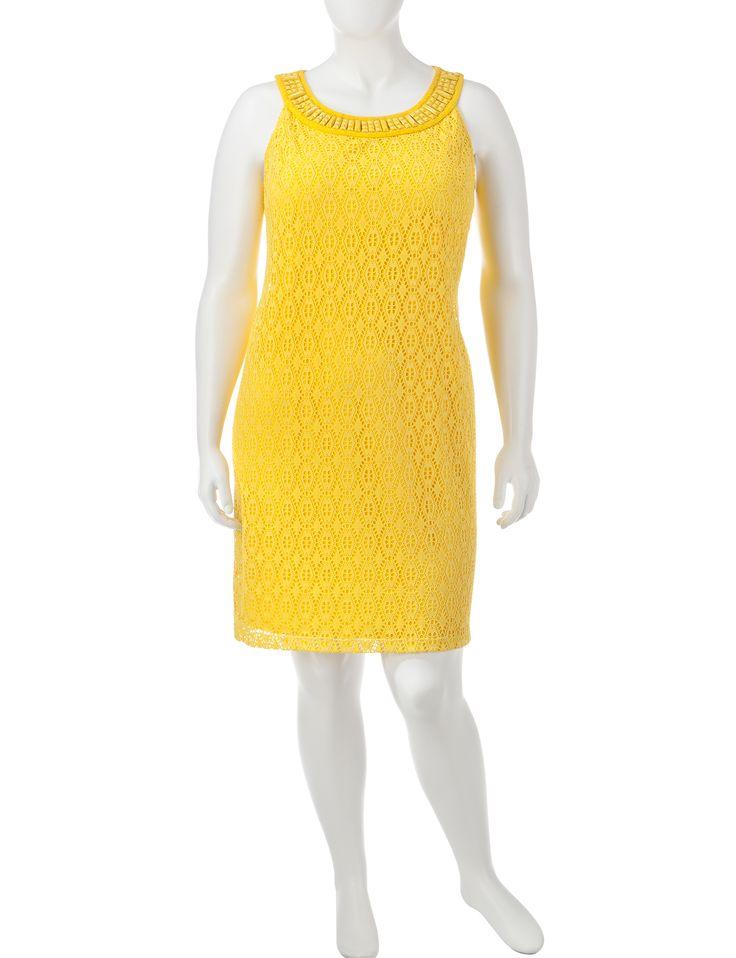 Sandra Darren Plus-size Solid Color Beaded Crochet Dress | Stage Stores