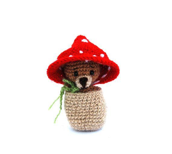 $38.42 crochet bear in a mushroom purse, 2 in 1, travel toy for #children, cute miniature bear, mushroom doll, small stuffed teddy bear, #amigurumi gift by crochAndi