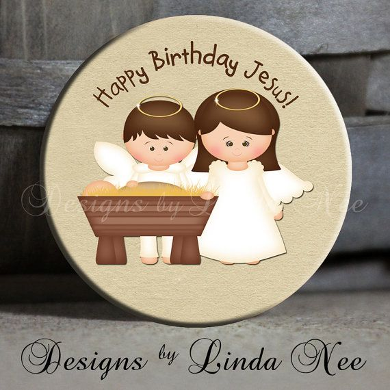 """Happy Birthday Jesus with Baby Jesus in Manger with Mary and Joseph Angel on Tan Christian Scripture Holy Family Tween - 1.5"""" Pinback Button..."""
