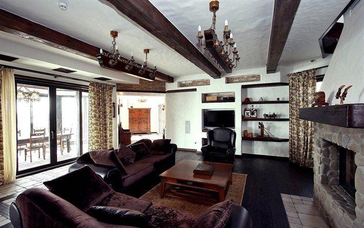 Scarica sfondi Casa di campagna, la villa, in stile chalet, camino