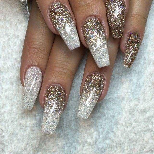 Glitter Zilver Ombre