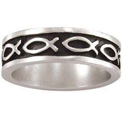 Sterling Silver Men's Christian Ring | Multi Ichthys Fish