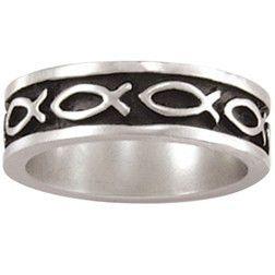 Sterling Silver Men's Christian Ring | Multi Ichthys Fish