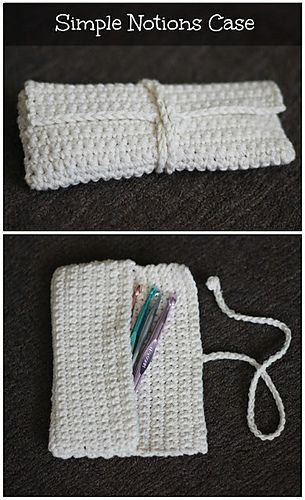 This simple crocheted case is the perfect size for a few crochet hooks. Or, in my case, pencils, pens and an eraser for making notes on my patterns and designs. It fits nicely in my crochet bag and keeps my pens from drawing all over my projects.