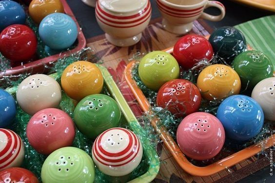 """Happy Easter with Fiestaware salt and pepper shakers! I don't think the kids will be searching for these """"eggs""""."""
