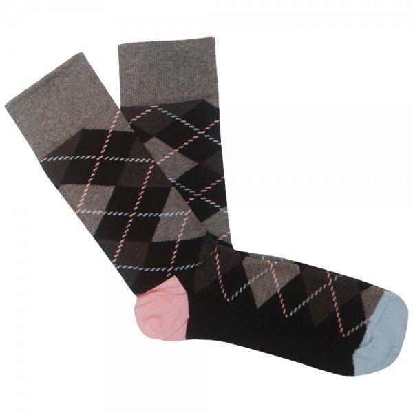 Happy Socks - Argyle Sock -  Grey Blue Pink