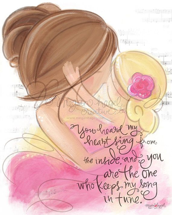 Mother Daughter Wall Art Print By MeganHagelCreative, $20.00. Different  Hair Colors, Skin Colors