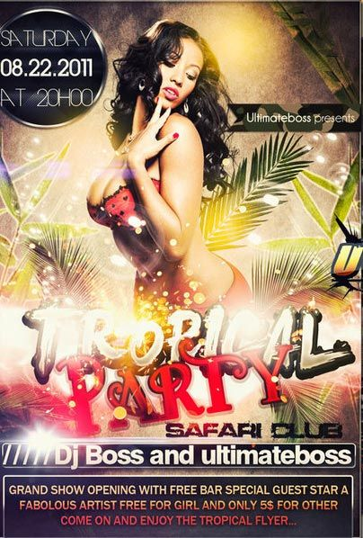 free tropical summer party flyer template