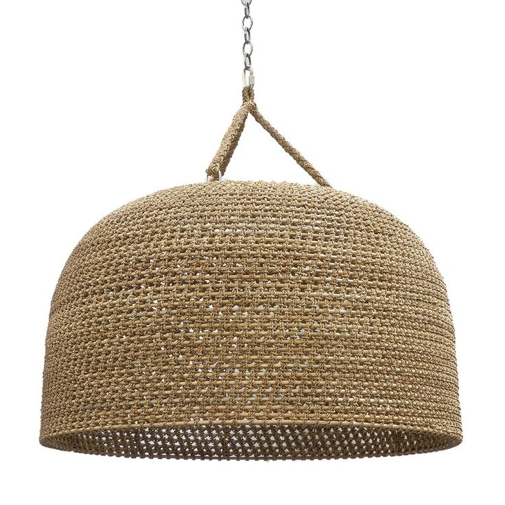 Jeffrey Alan Marks Collection. Oversized pendant intricately woven with a core rattan frame accented with natural rope details. Plug-in 3 bulb candelabra pendant with inline switch complete with nickel chain for hanging and a 22' average length cord from pendant to socket.
