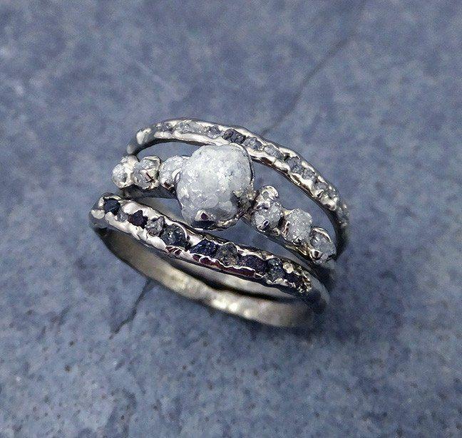 Raw Diamond White gold Engagement Ring Rough Gold Wedding Ring diamond Wedding…